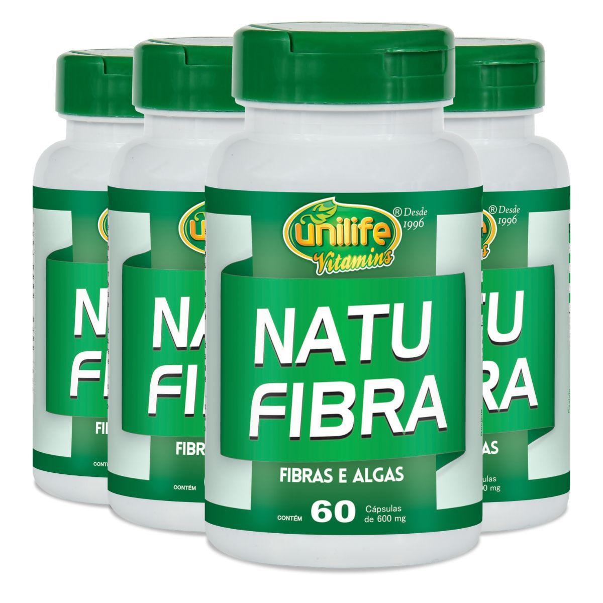 Kit 4 Natu Fibra Unilife Fibras e Algas - 600 Mg 60 cápsulas