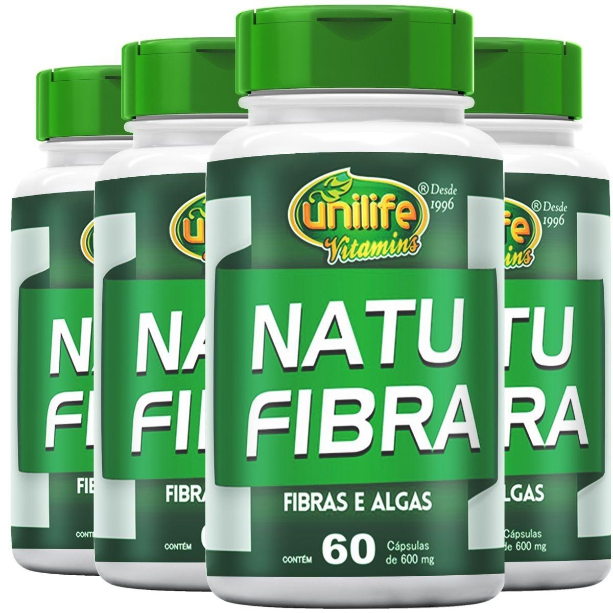 Kit 4 Natu Fibras 60 cápsulas 500mg Unilife - Ágar-ágar, Psyllium e Spirulina