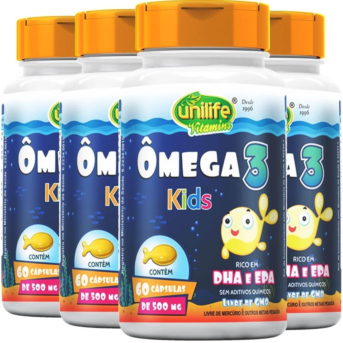 Kit 4 Ômega 3 Kids Unilife 60 Cápsulas 500mg