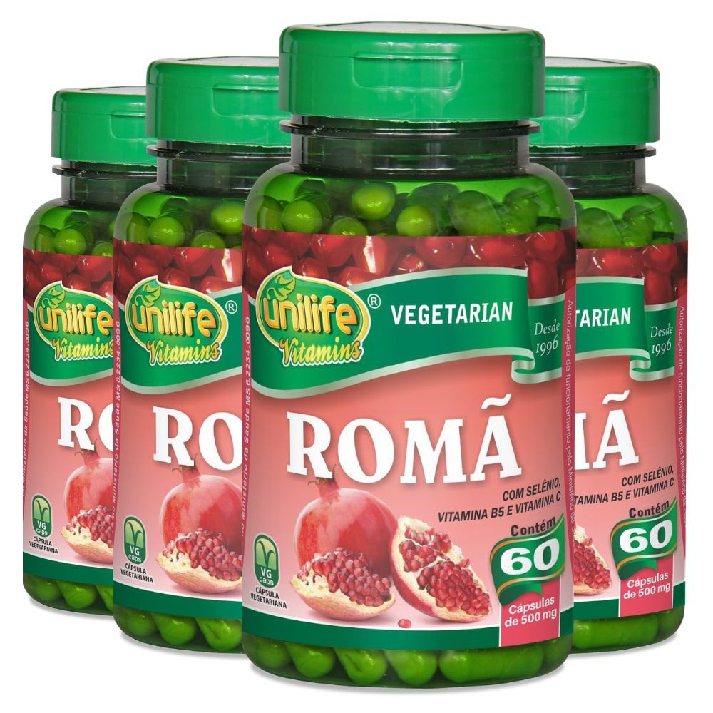 Kit 4 Romã C/ Vitaminas - Unilife 60 Cáps 500mg
