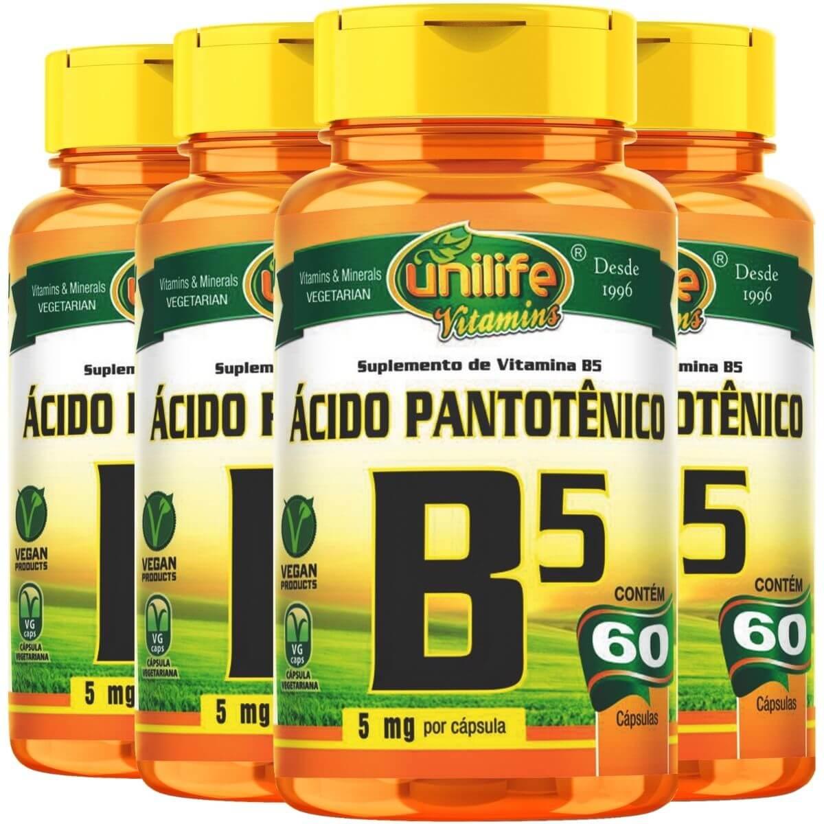 Kit 4 Vitamina B5 Ácido Pantotênico - Unilife 60 Cáps