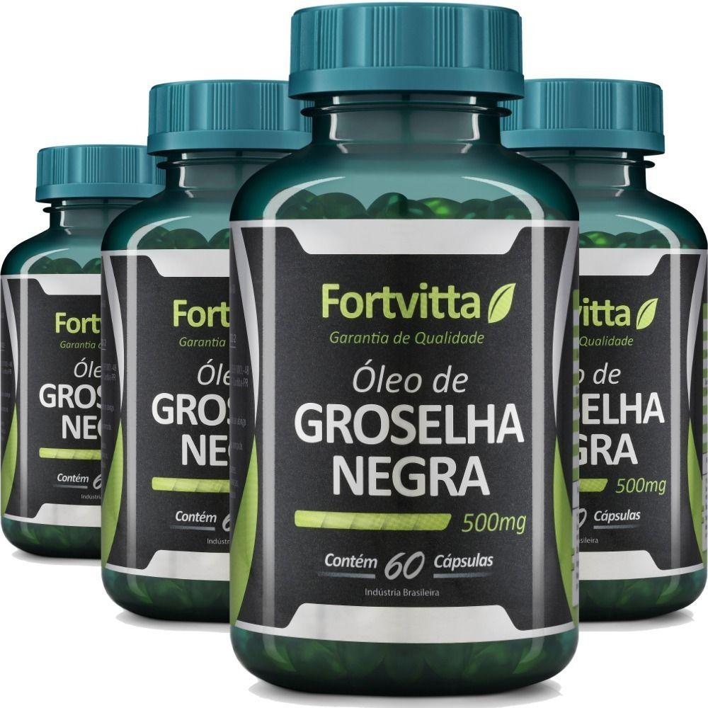 Kit 4x Óleo De Groselha Negra - 60 Cáps Cada - Fortvitta