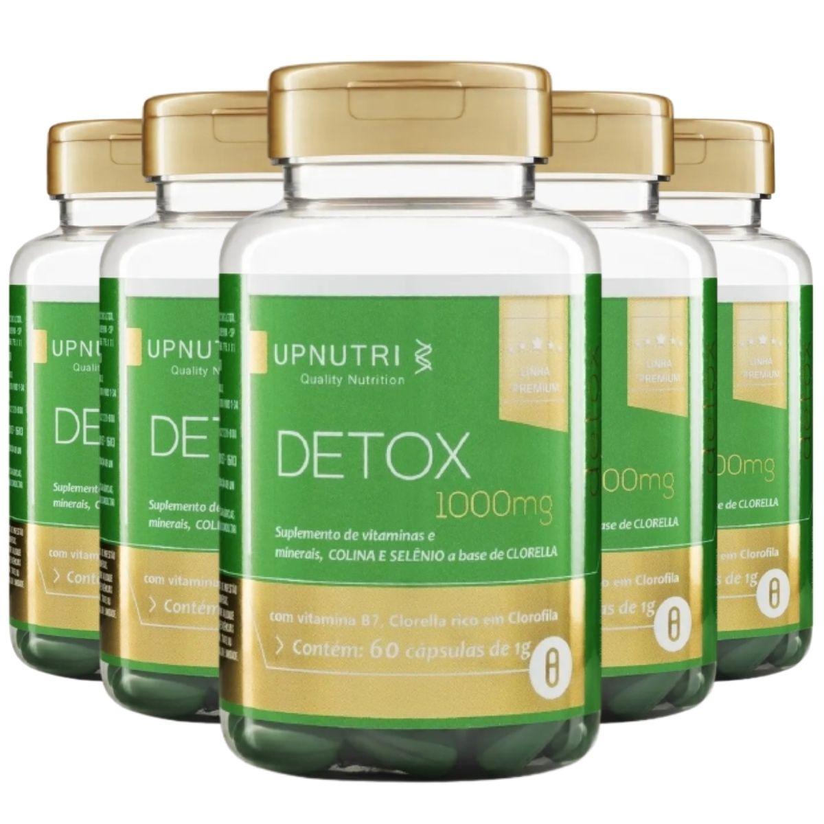 Kit 5 Detox 60 Cápsulas 1000mg Upnutri - Clorella, Colina, Selênio e Óleo de Cártamo