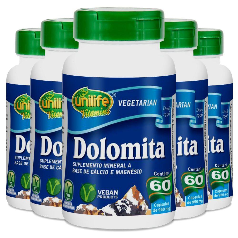 Kit 5 Dolomita - Cálcio e Magnésio Unilife 60 Cáps 950mg