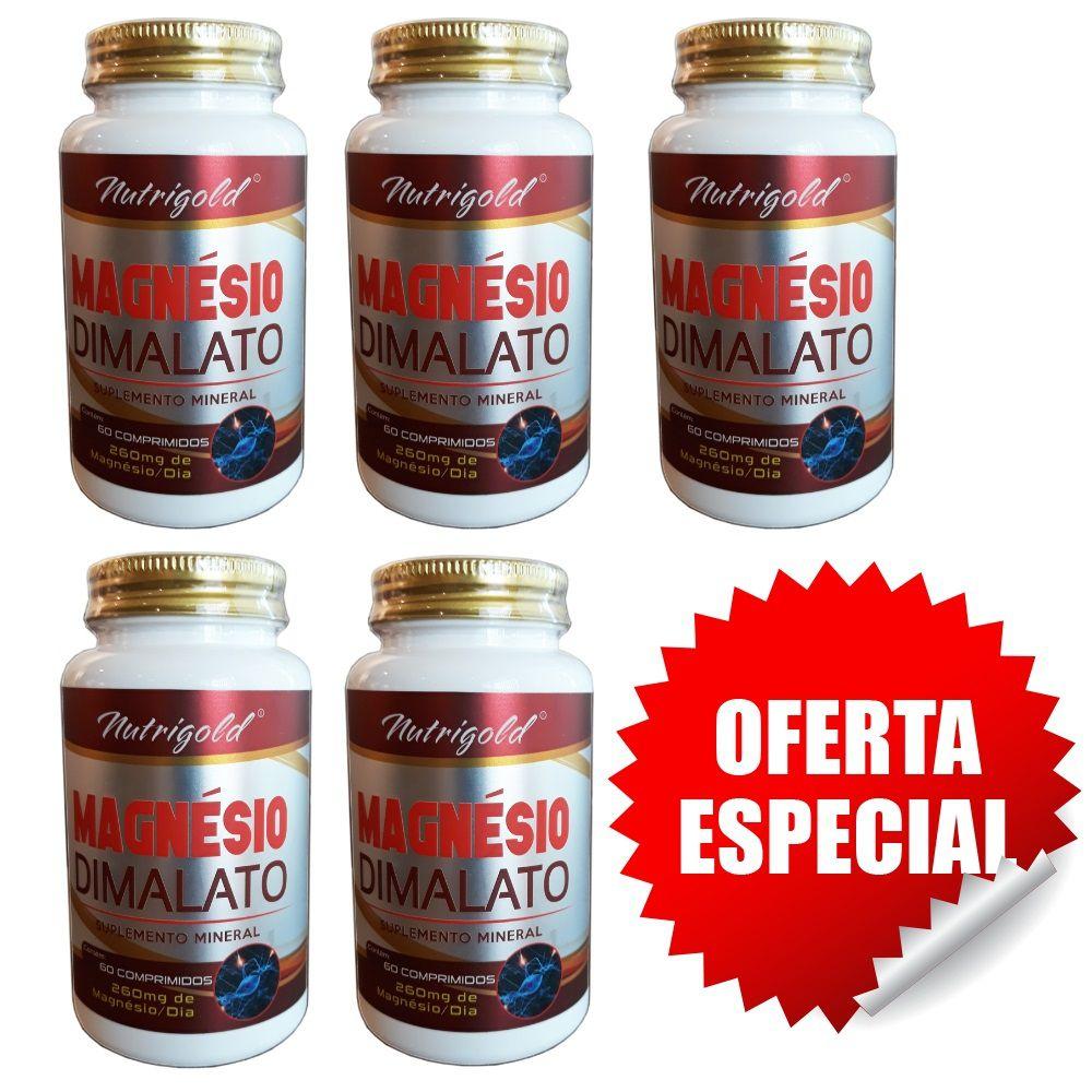 Kit 5 Magnesio Dimalato 60 Comprimidos