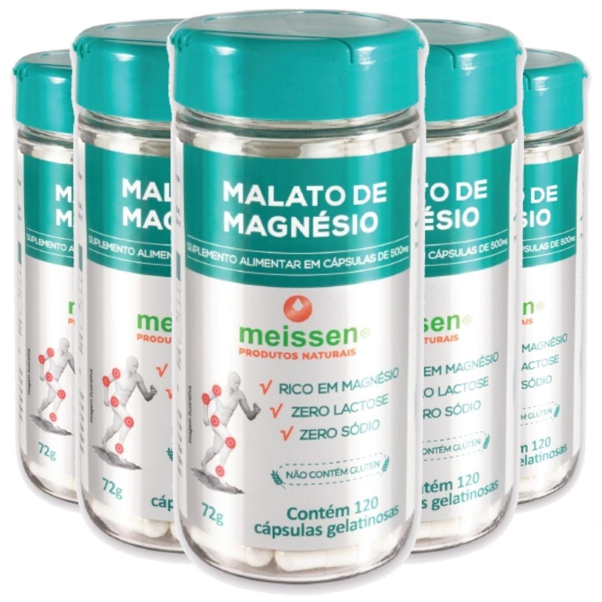 Kit 5 Magnésio De Malato 120 Cápsulas Gelatina - Meissen