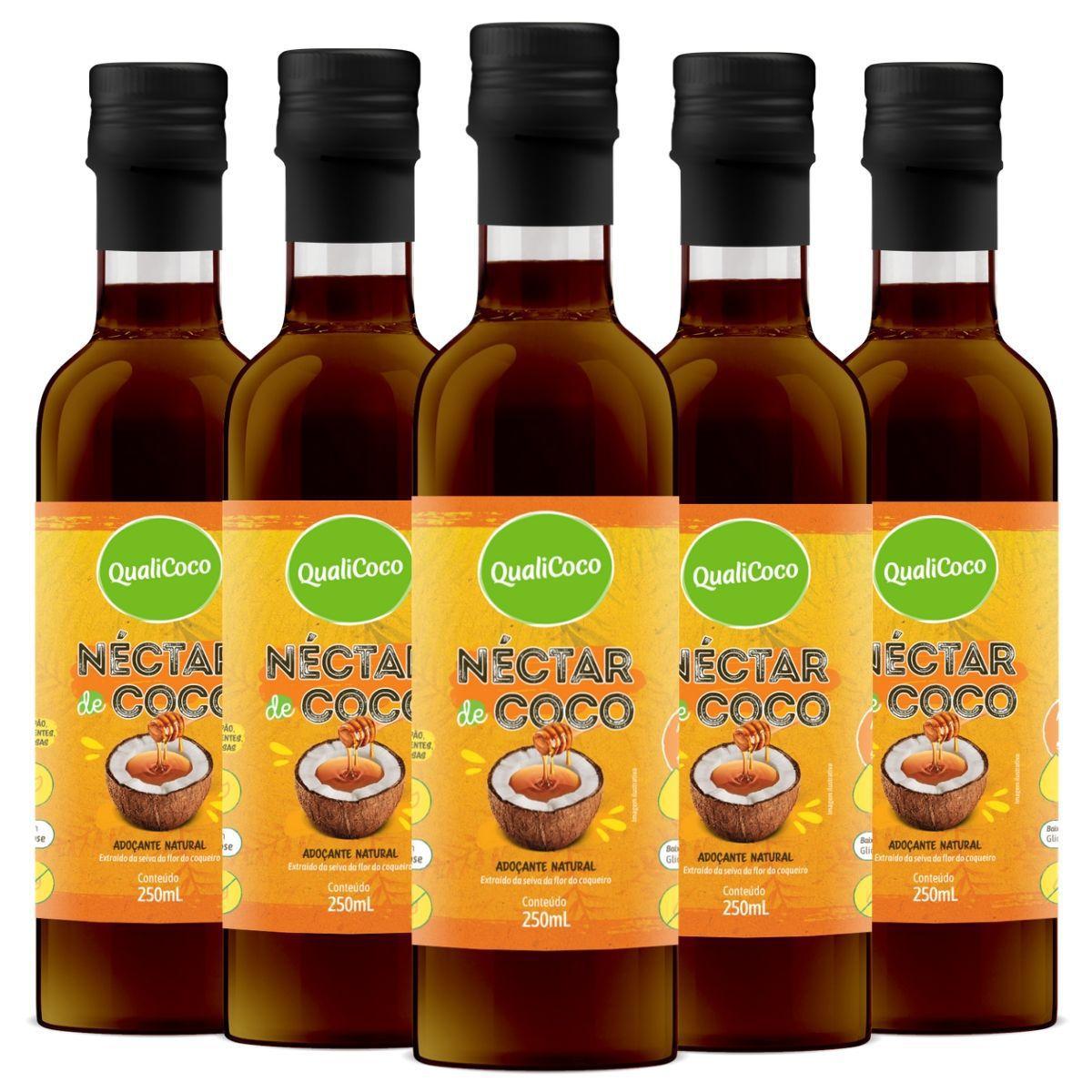 Kit 5 Néctar de Coco Adoçante Natural 250ml - QualiCoco