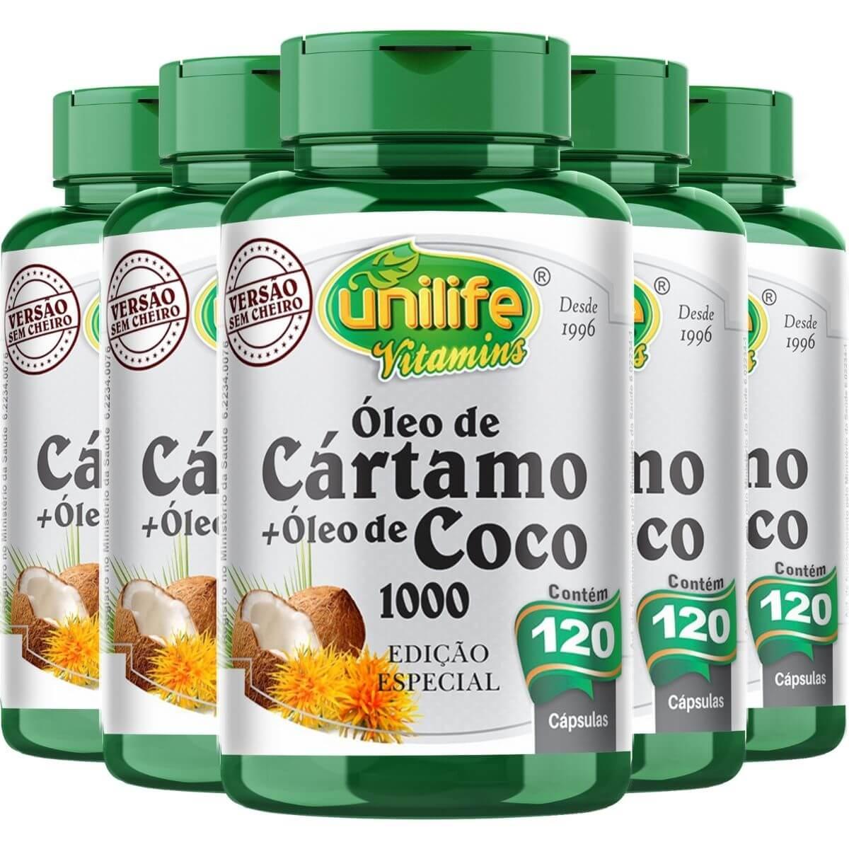 Kit 5 Óleo de Cártamo + Óleo de Coco - Unilife 120 Cáps