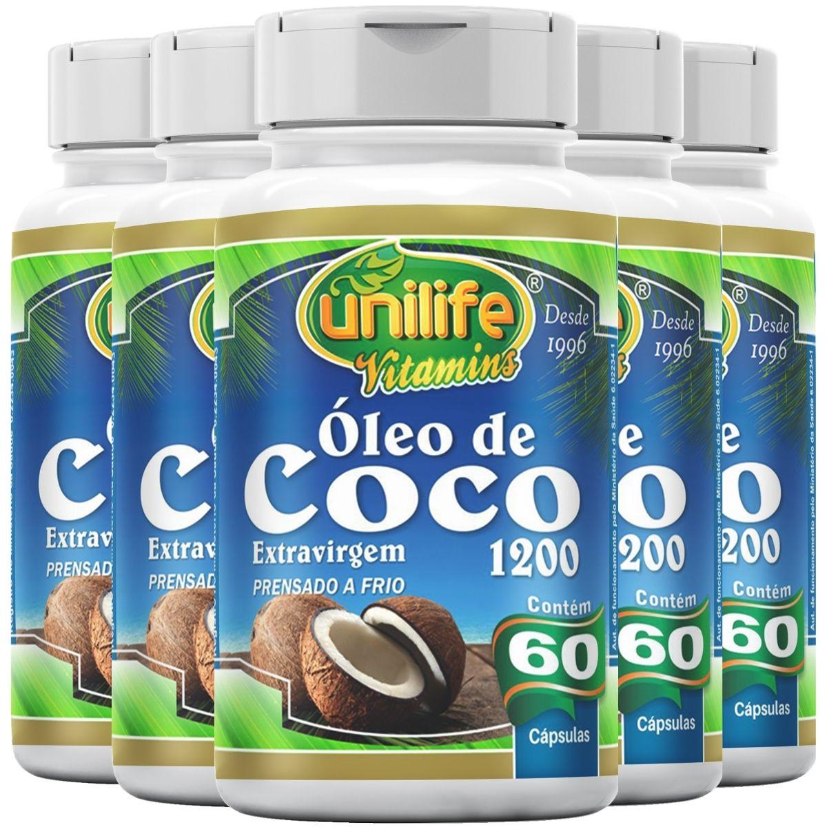 Kit 5 Óleo de Coco Extra Virgem Unilife - 60 Cáps 1200mg