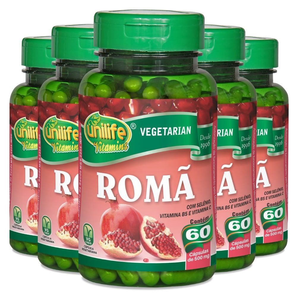 Kit 5 Romã C/ Vitaminas - Unilife 60 Cáps 500mg