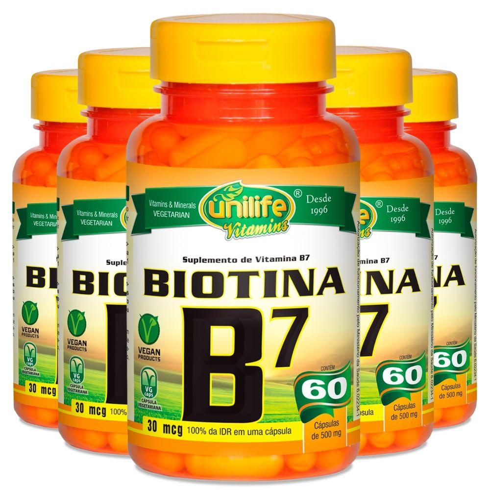 Kit 5 Vitamina B7 Biotina - Unilife 60 Cáps