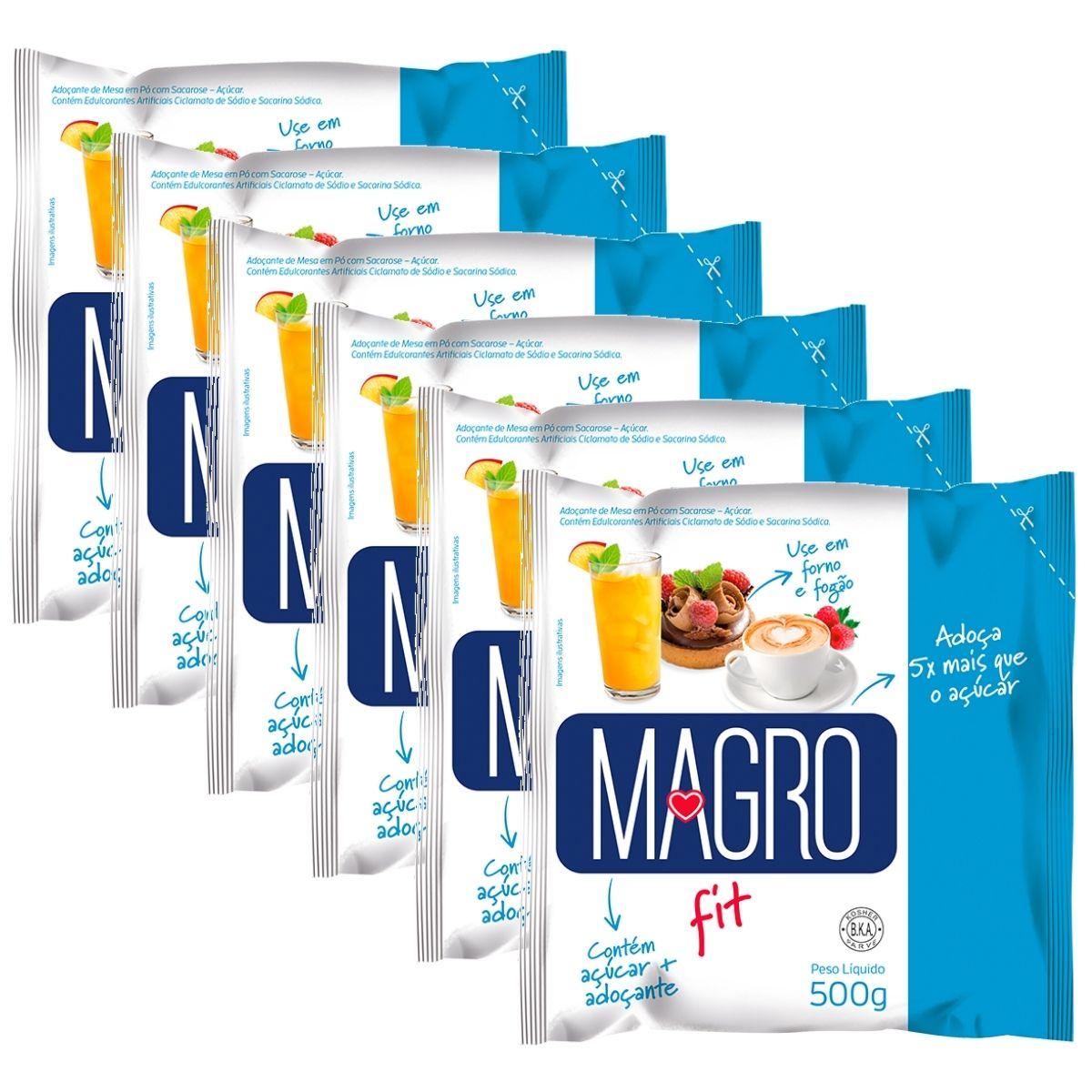 Kit 6 Açúcar Light Magro 500g - Forno e Fogão