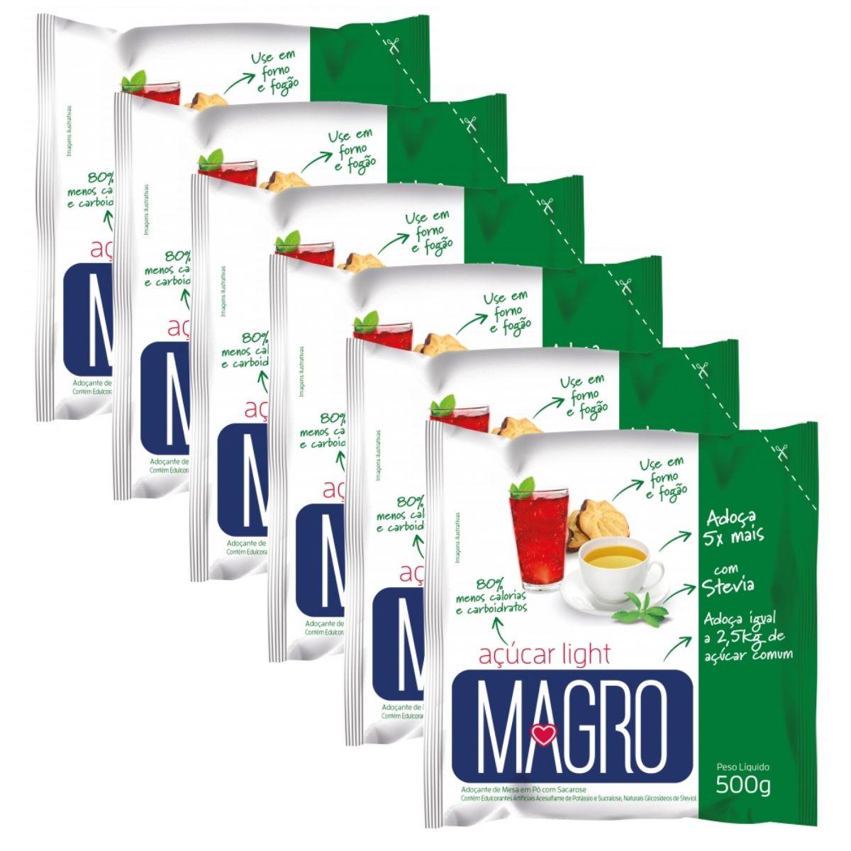 Kit 6 Açúcar Light Magro Com Stevia 500g - Forno e Fogão