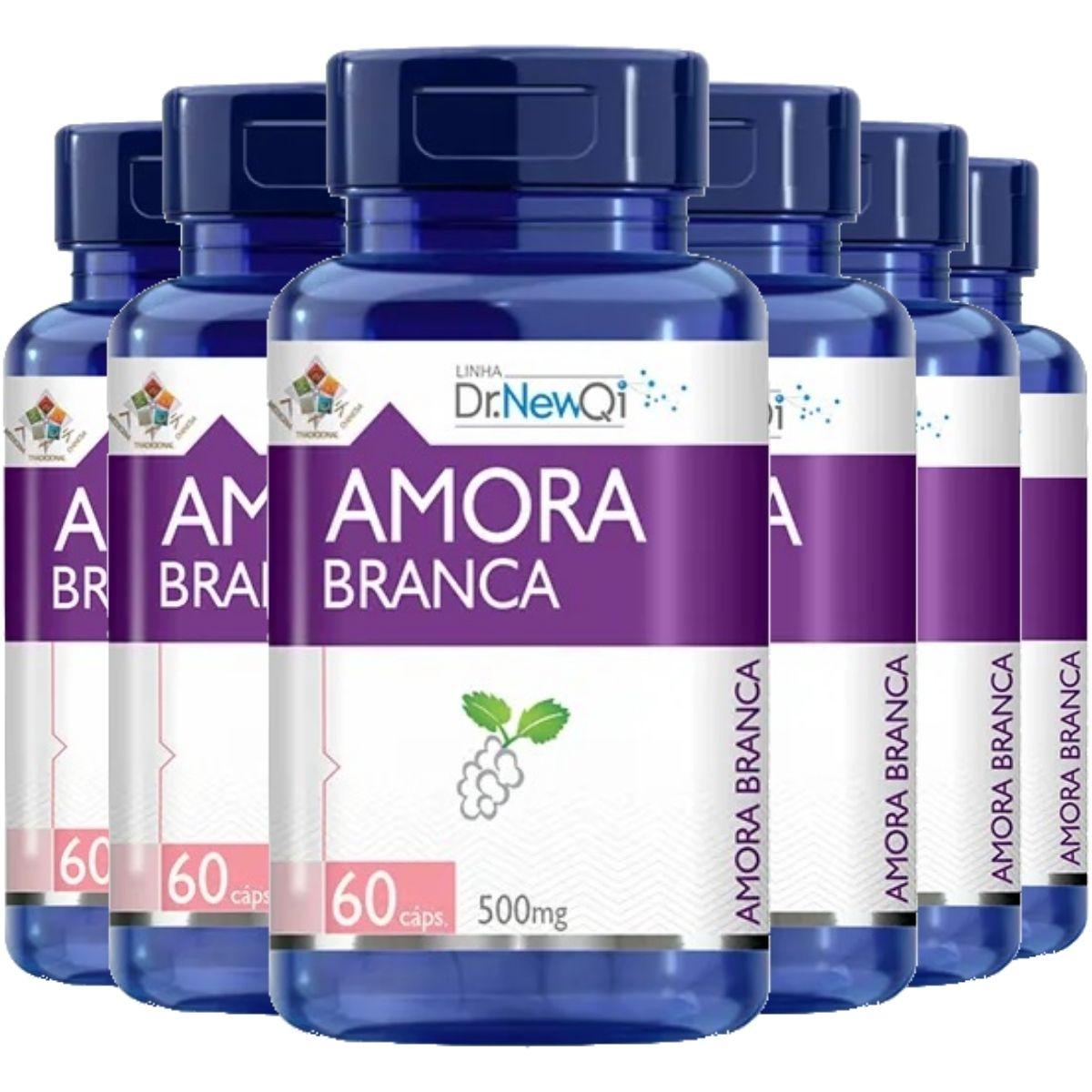 Kit 6 Amora Branca Vitaminas e Minerais 60 Cápsulas 500mg Dr. New Qi - Upnutri