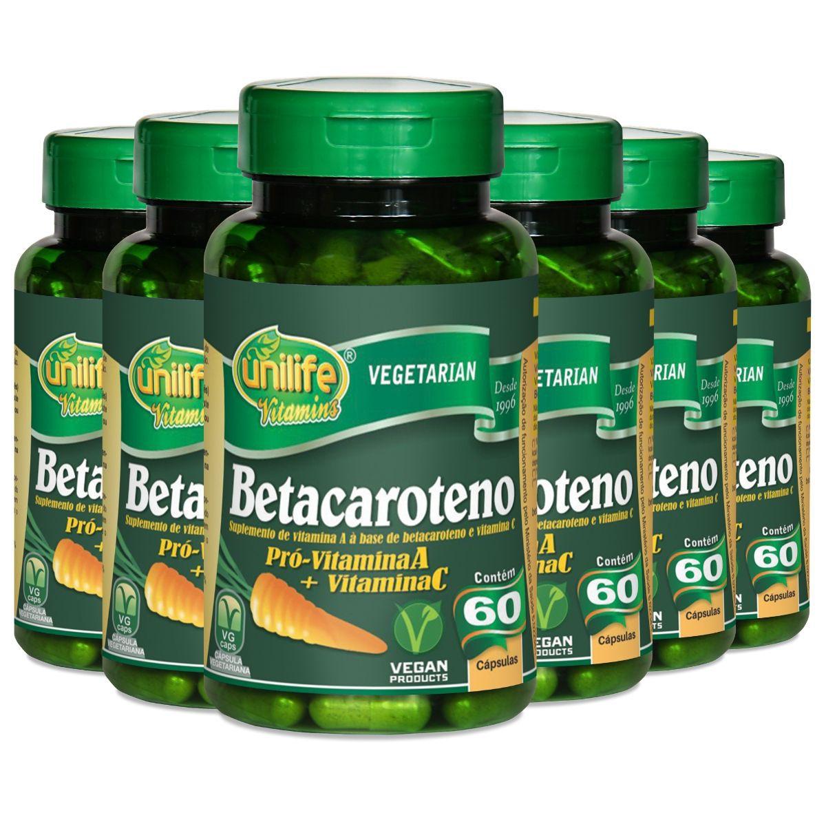 Kit 6 Betacaroteno Unilife - 500 Mg 60 Cápsulas