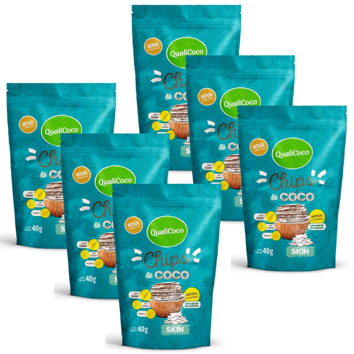 Kit 6 Chips De Coco Skin Snack Crocante  - QualiCôco