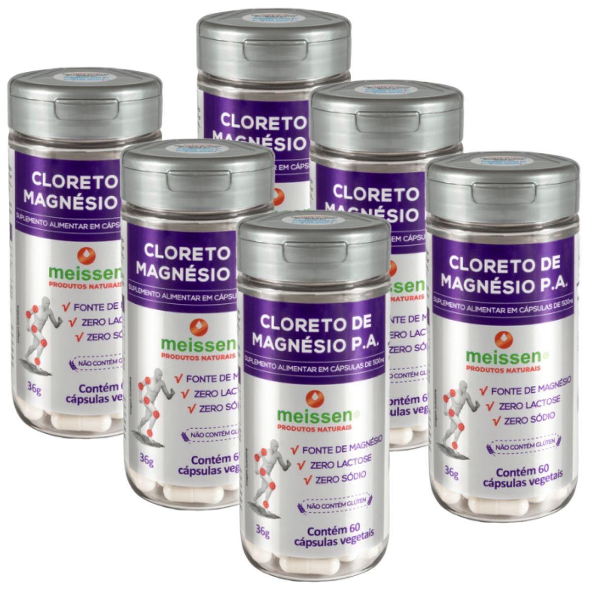 Kit 6 Cloreto De Magnésio Pa 60 Cápsulas 500Mg - Meissen