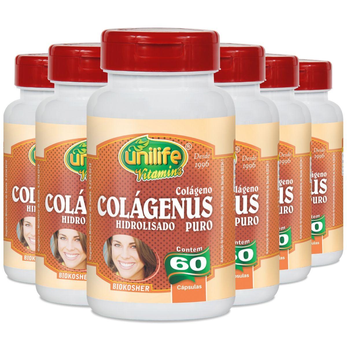 Kit 6 Colágeno Hidrolisado Puro 450mg 60 capsulas - Unilife