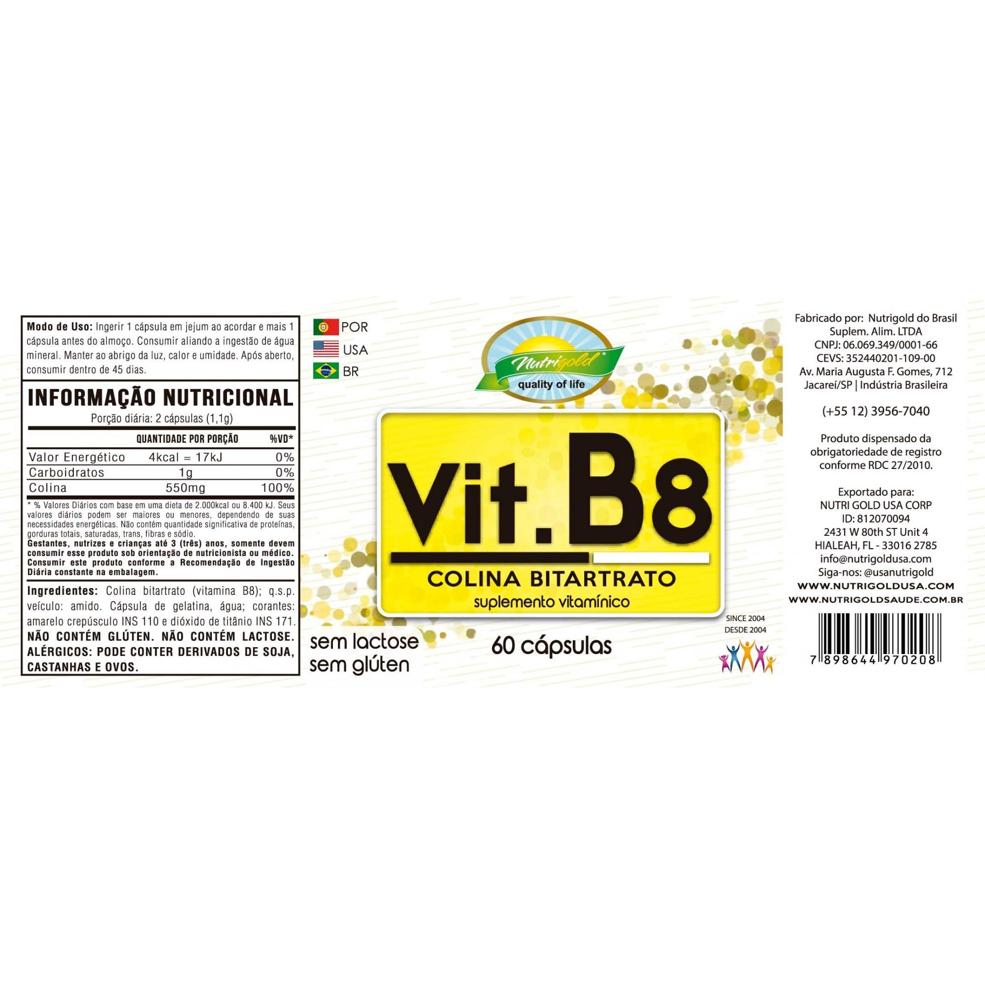 Kit 6 Colina Bitartrato B8 60 Cápsulas 550mg