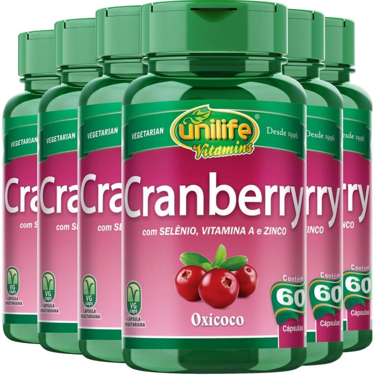 Kit 6 Cranberry Antioxidante 500mg 60 Capsulas - Unilife
