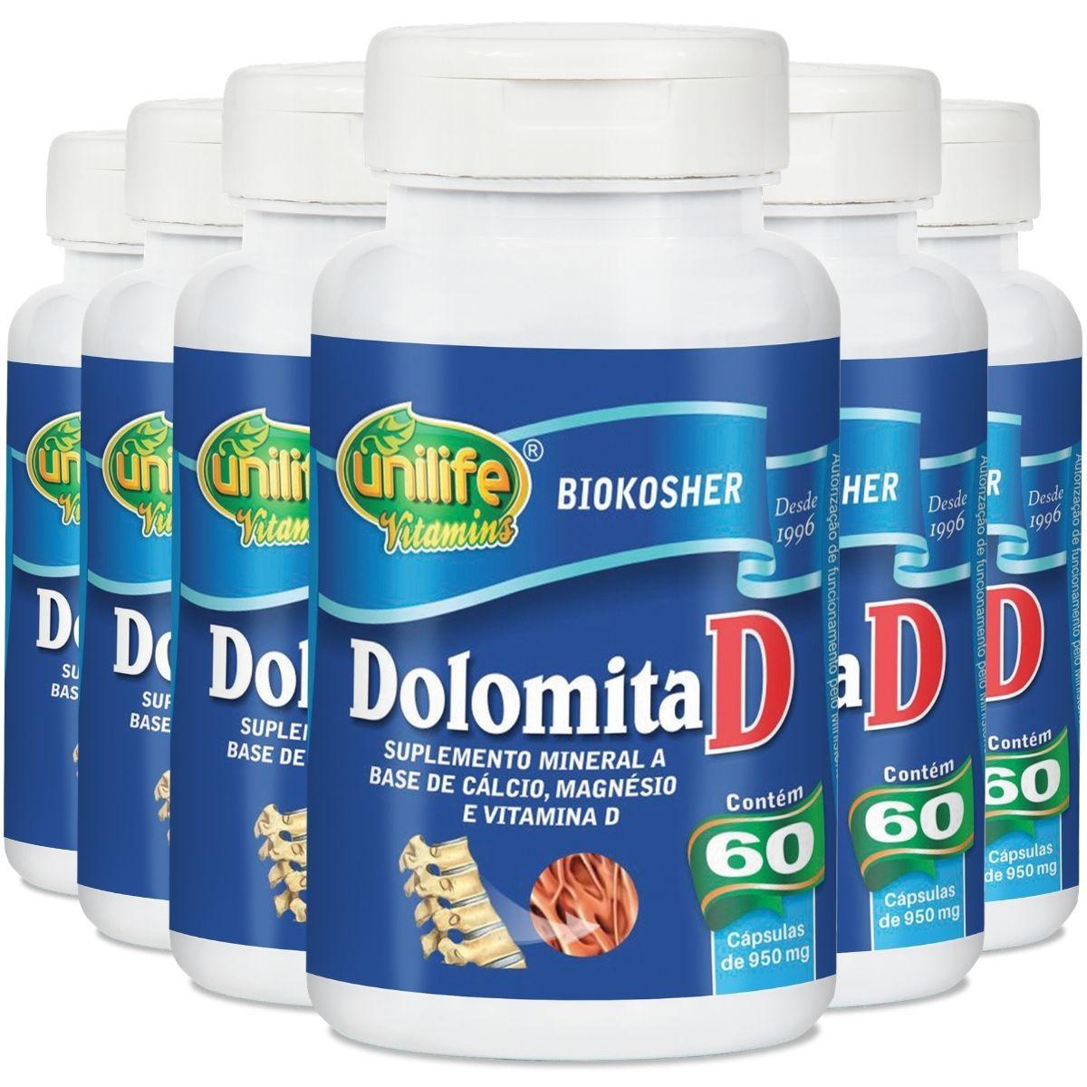 Kit 6 Dolomita D - Cálcio, Magnésio e Vitamina D3 60 Cápsulas - Unilife