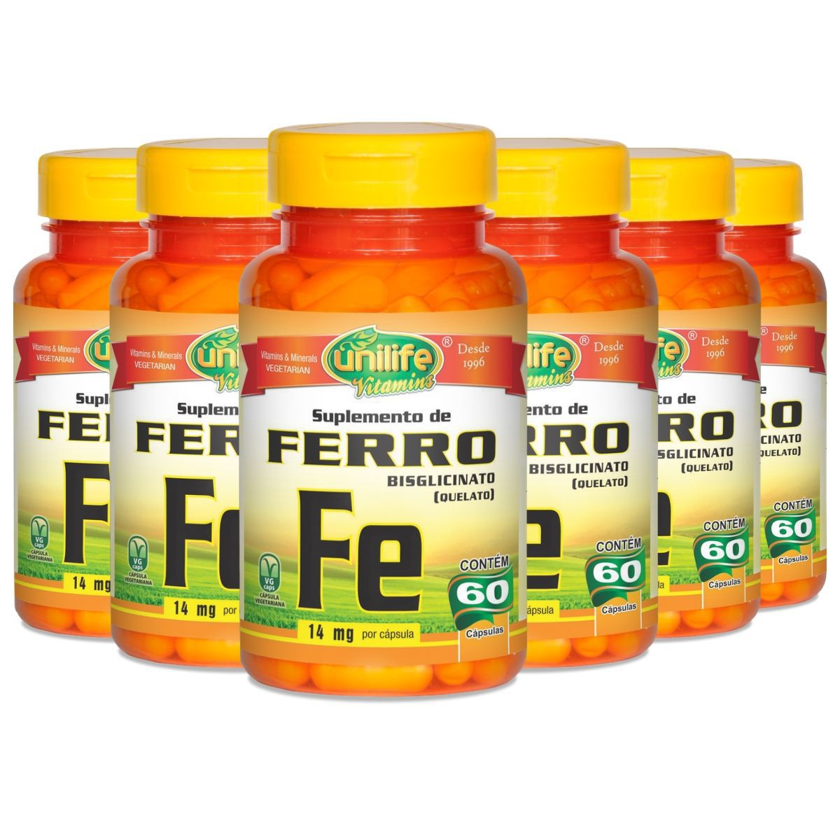 Kit 6 Ferro Quelato Fe 500mg 60 Cáps - Unilife