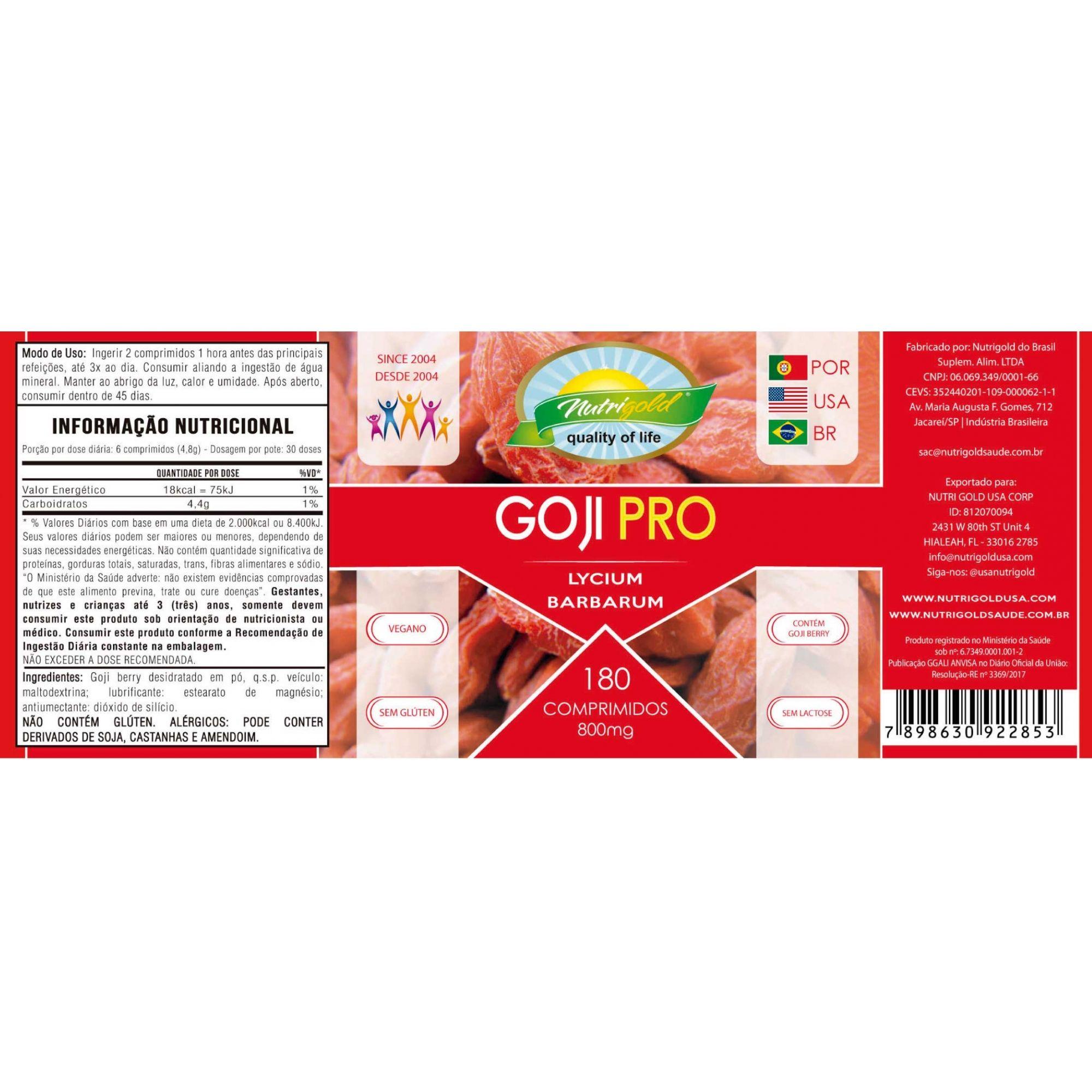 Kit 6 Goji Pro Pote 180 Comprimidos 800mg