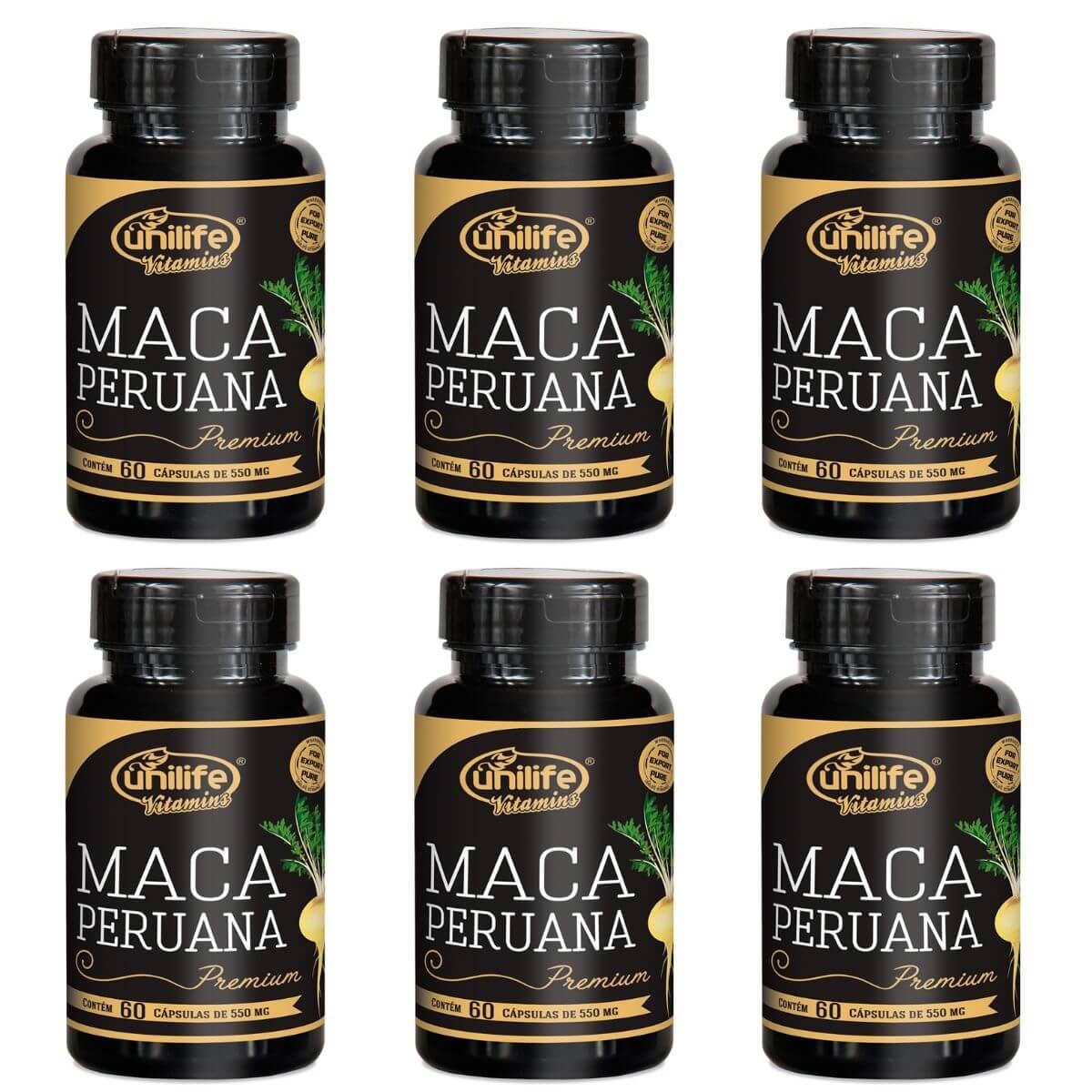 Kit 6 Maca Peruana Premium Unilife 100% Pura - 60 Cápsulas