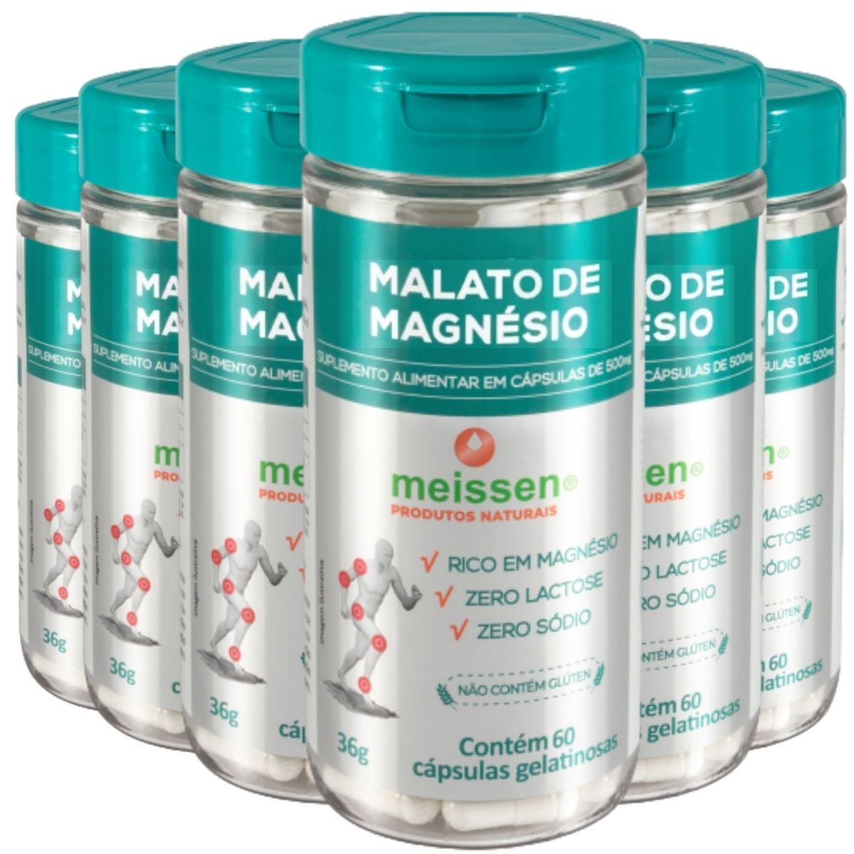 Kit 6 Magnésio De Malato Meissen - 360 Cápsulas Total
