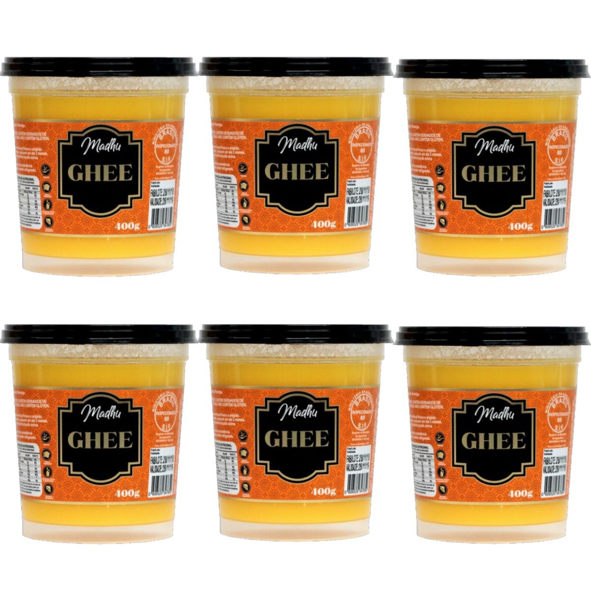 Kit 6 Manteiga Ghee 400g  Tradicional Clarificada Zero Lactose