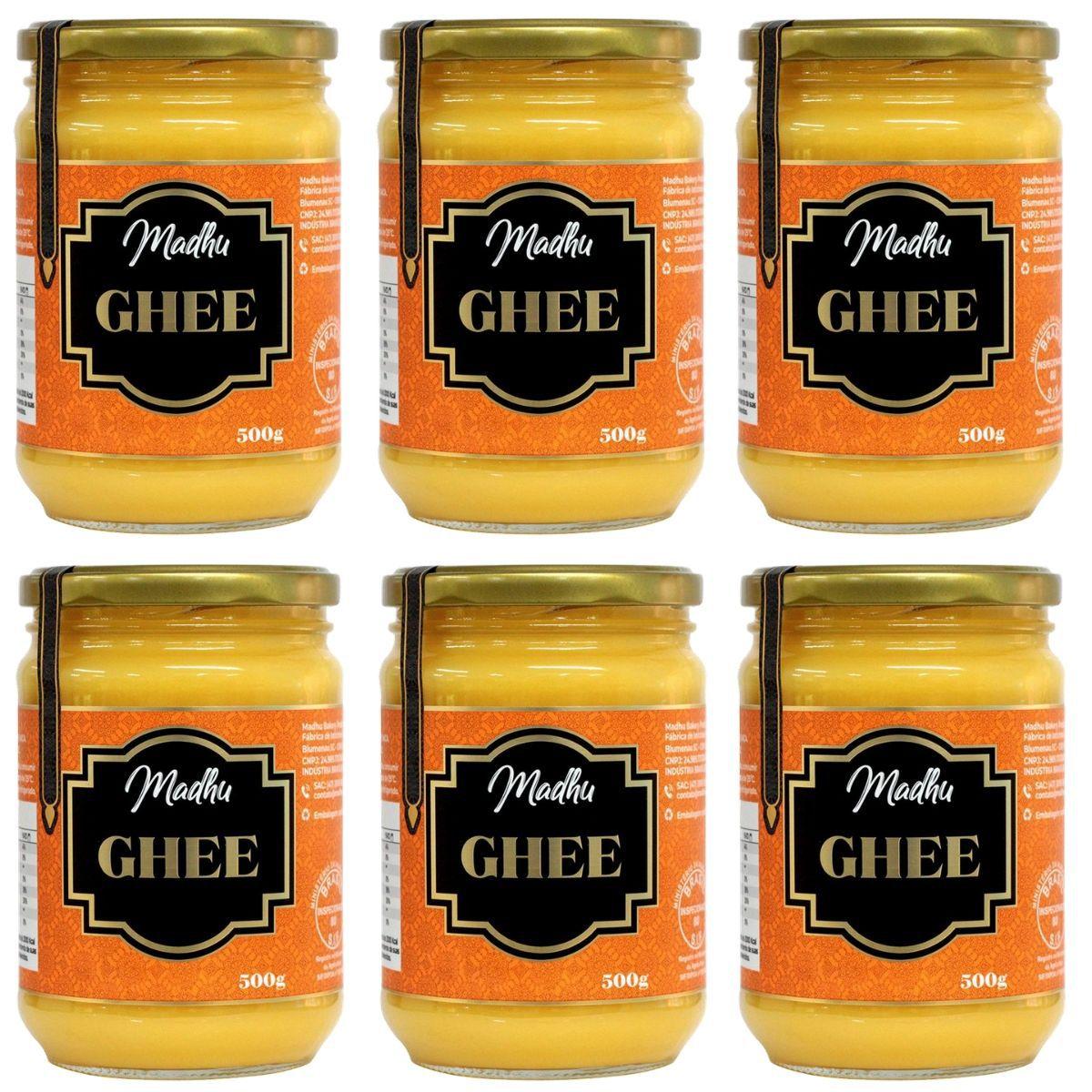 Kit 6 Manteigas Ghee 500g Tradicional Clarificada Zero Lactose