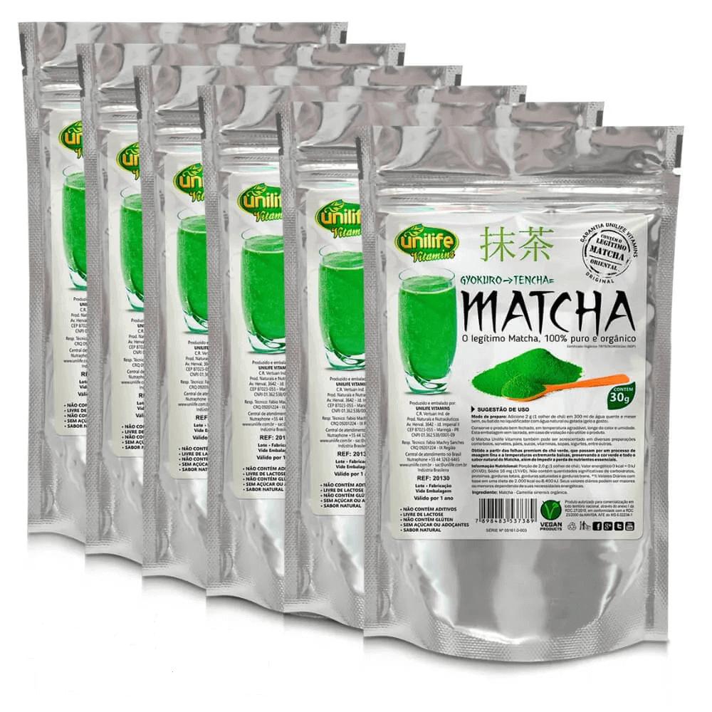 Kit 6 Matcha Instantâneo 100% Puro Unilife - 30g