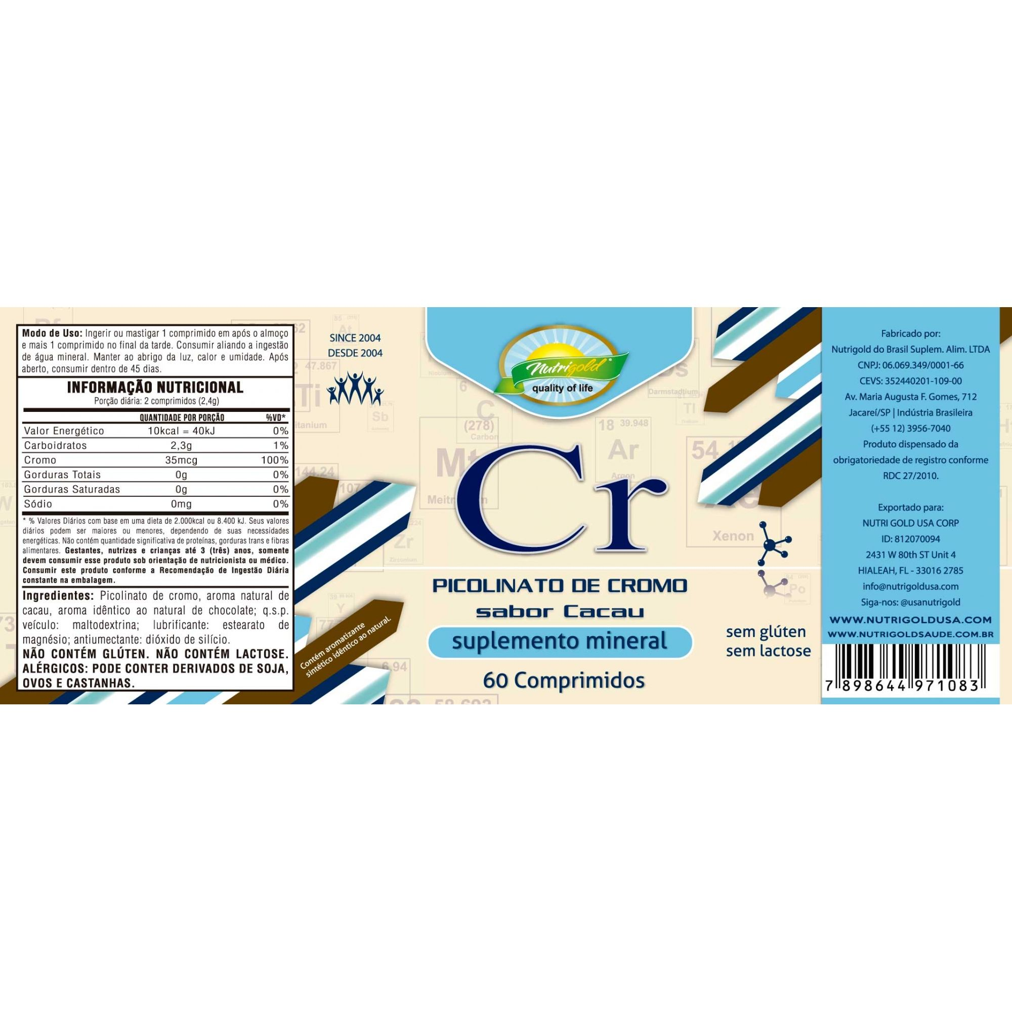 Kit 6 Picolinato de Cromo 60 Comprimidos 1,2g Sabor Cacau