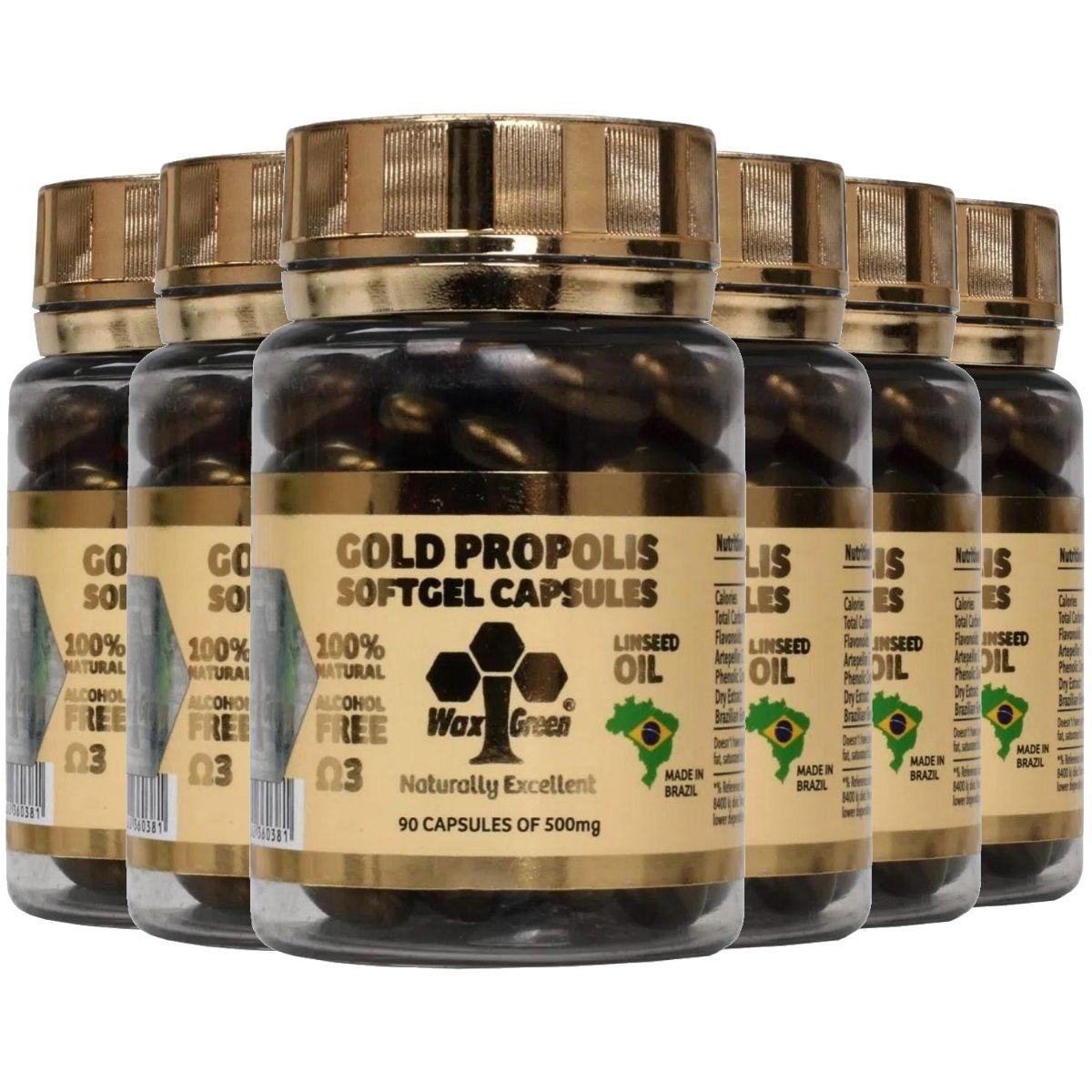Kit 6 Própolis Verde Gold 87% C/ Ômega 3 90 cápsulas 500mg - Wax Green