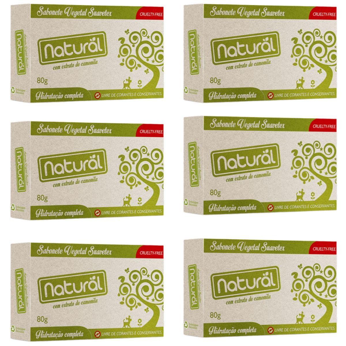 Kit 6 Sabonete Contente Com ingredientes Organicos e Naturais 80gr - Suavetex