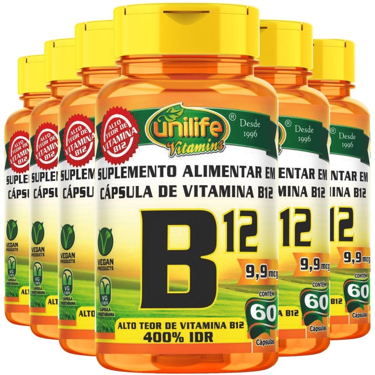 Kit 6 Vitamina B12 Cianocobalamina Unilife - 60 Cápsulas 450mg