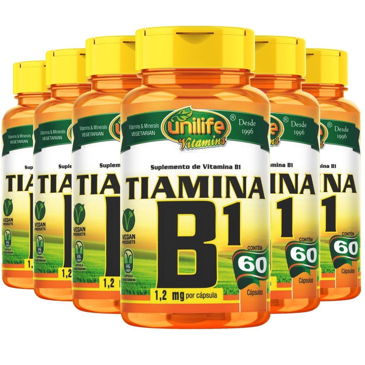 Kit 6 Vitamina B1 Tiamina 60 Cápsulas 500mg - Unilife