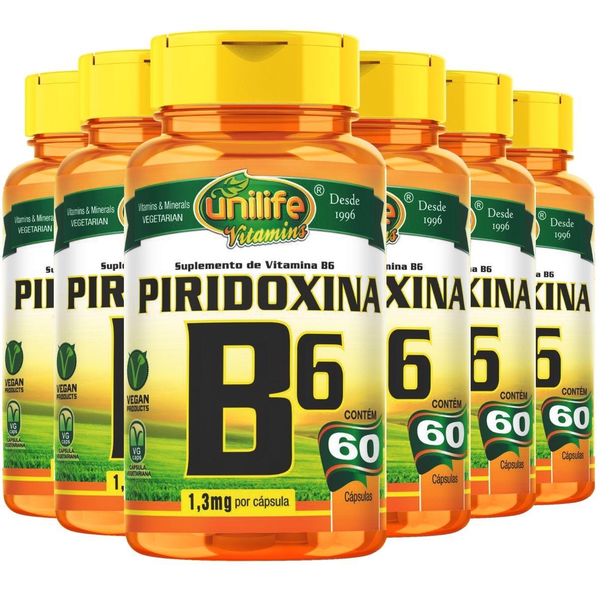 Kit 6 Vitamina B6 Piridoxina 60 Cápsulas 500mg - Unilife