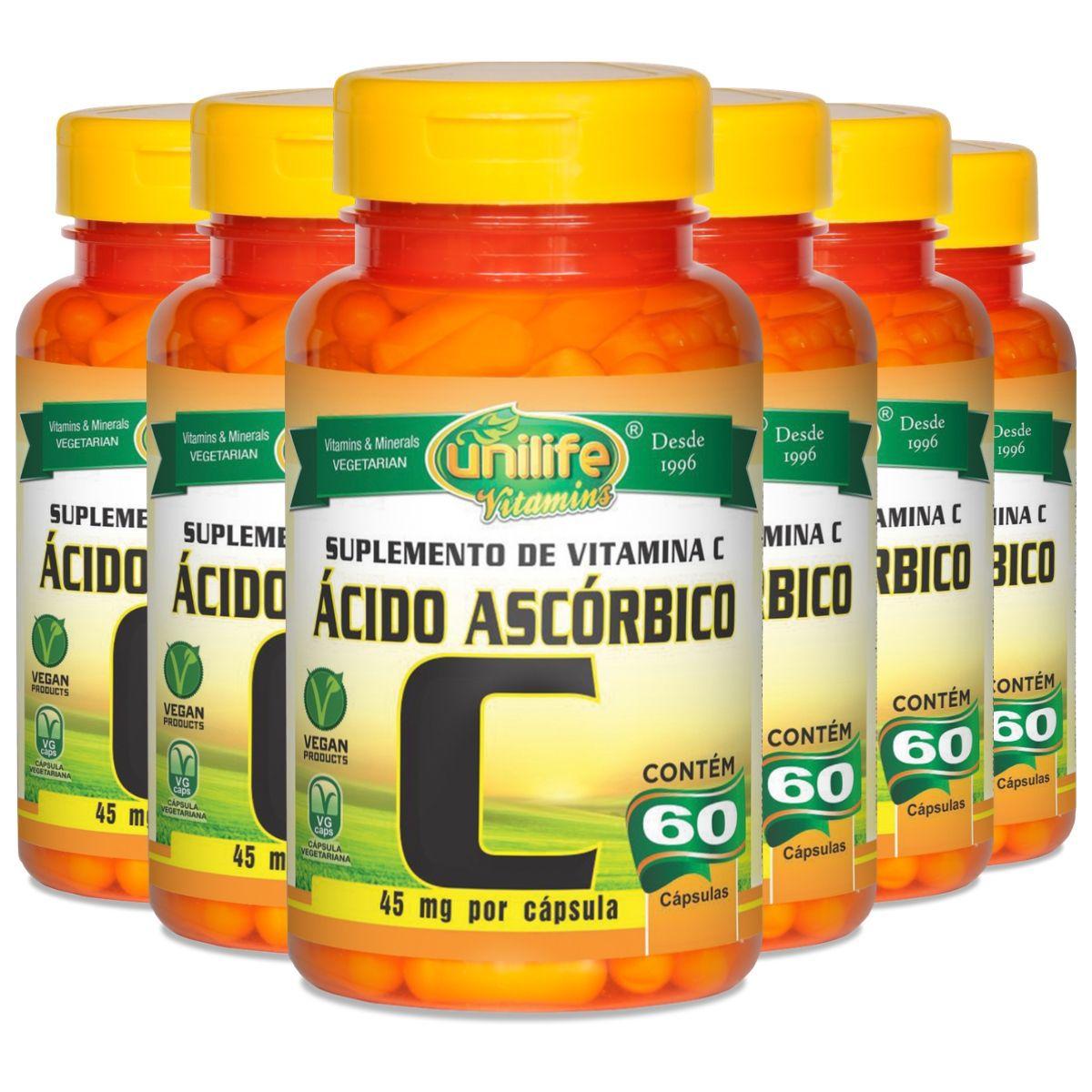 Kit 6 Vitamina C Ácido Ascórbico 500mg 60 Cáps - Unilife