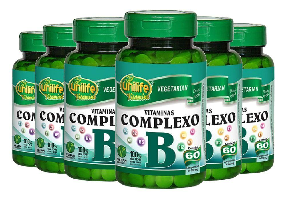 kit 6 Vitaminas Complexo B Unilife - 60 Comprimidos 500mg