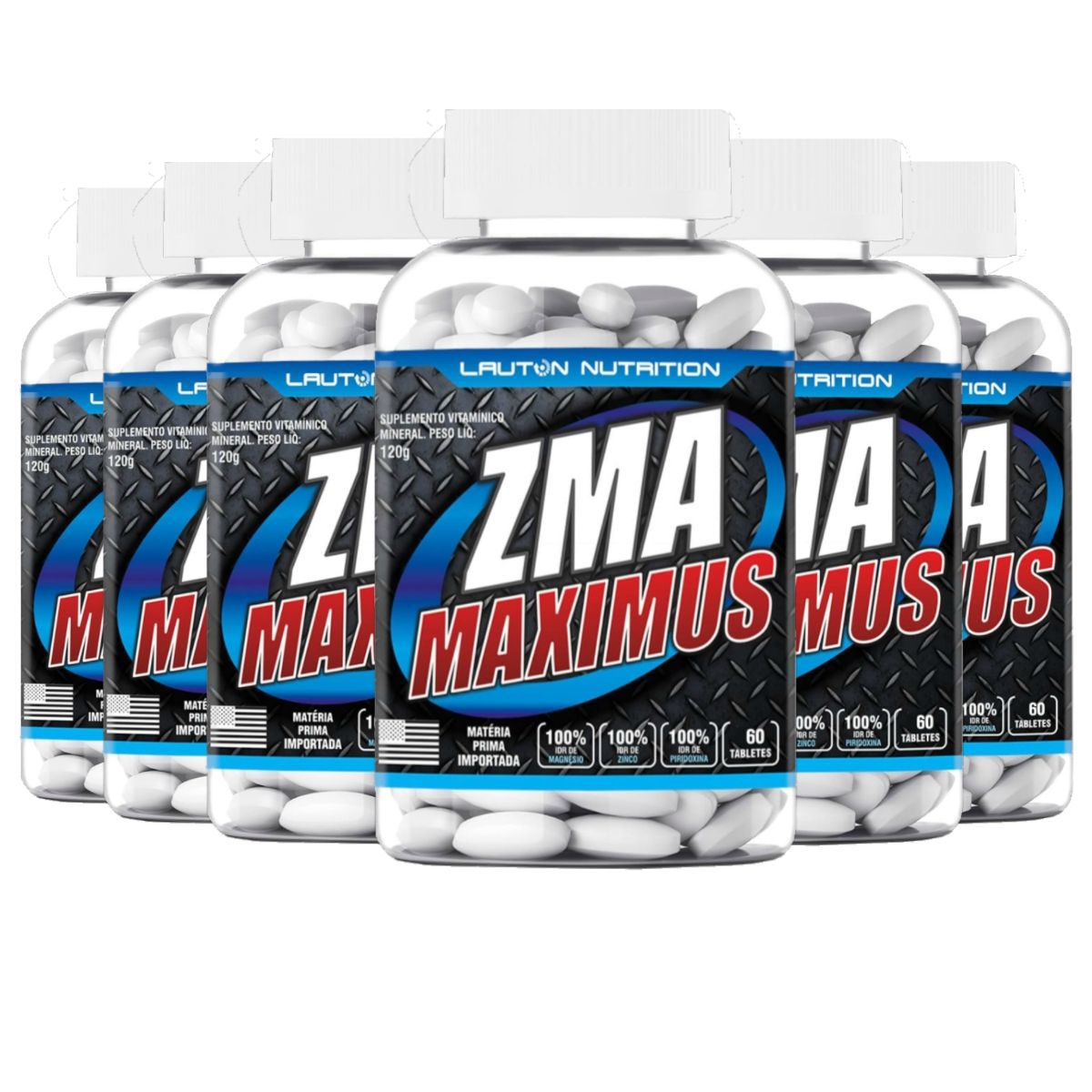 Kit 6 ZMA Maximus Lauton Nutrition - 60 Tablets 1G