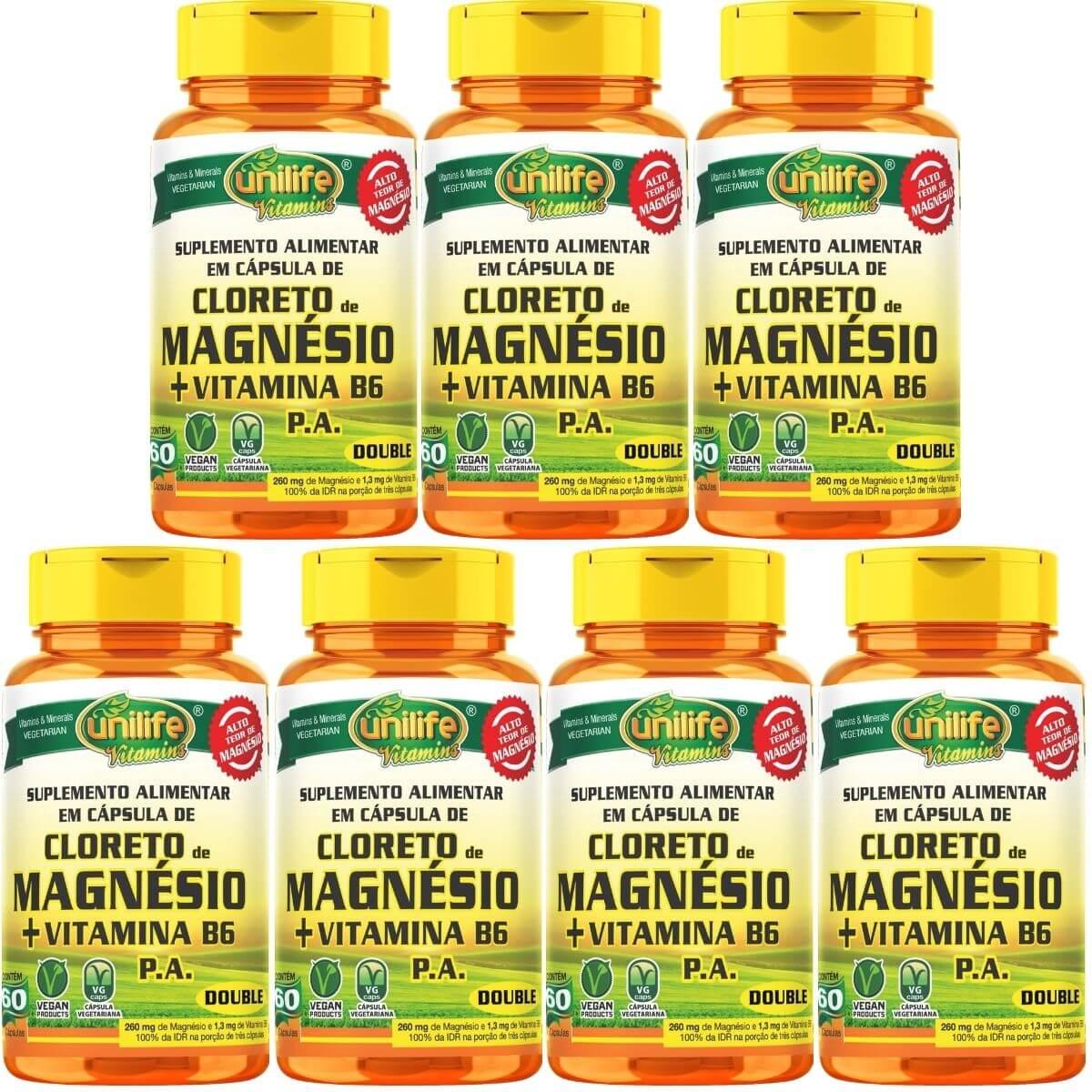 Kit 7 Cloreto De Magnésio Pa C/ Vitamina B6 800mg 60 Cápsulas - Unilife