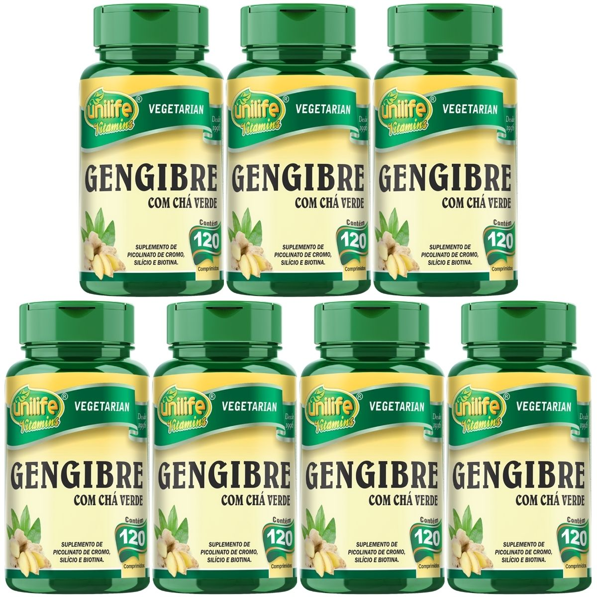 Kit 7 Gengibre C/ Chá Verde Unilife - 400mg 120 Comprimidos