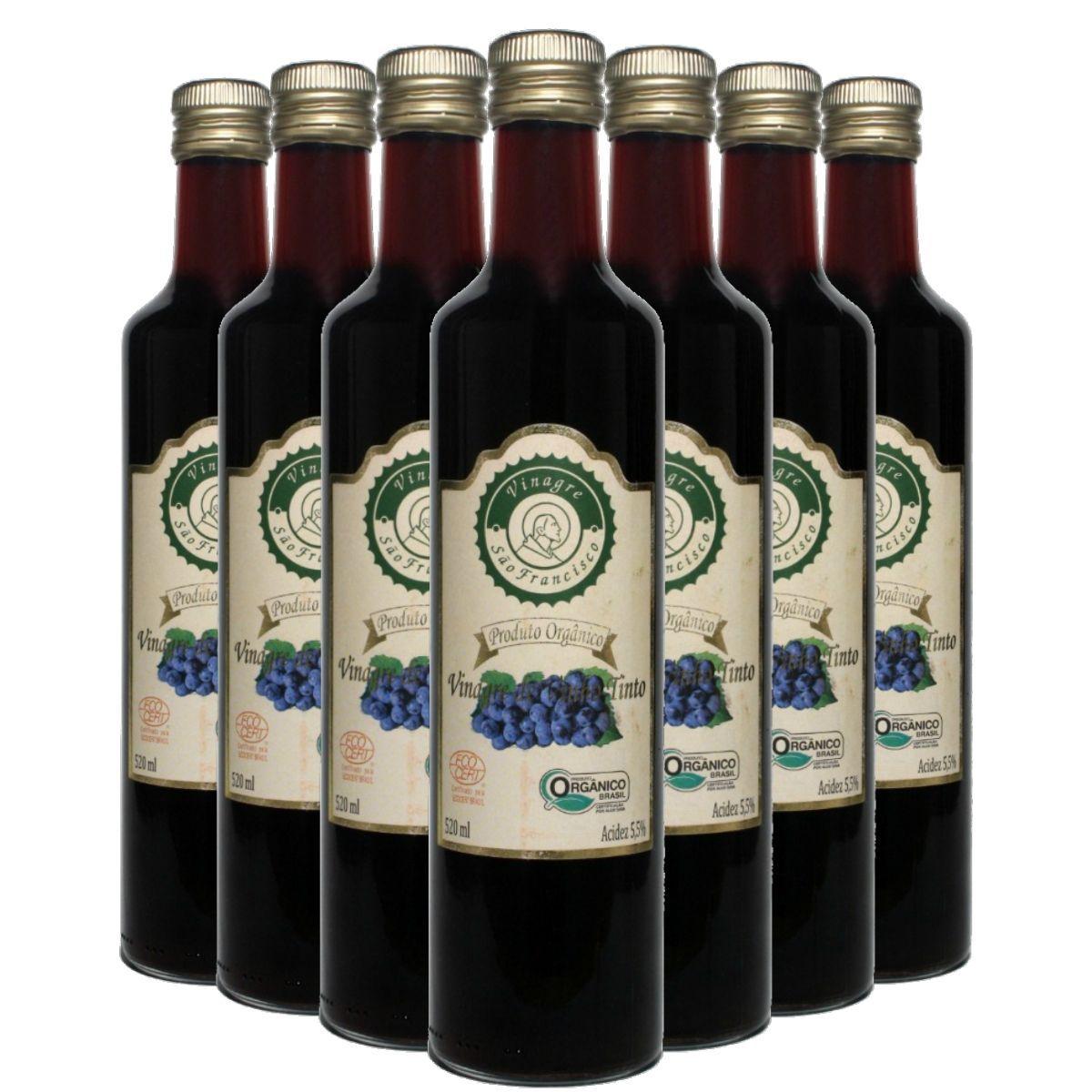 Kit 7 Vinagre Orgânico São Francisco Vinho Tinto Acidez 5,5% - 500ml