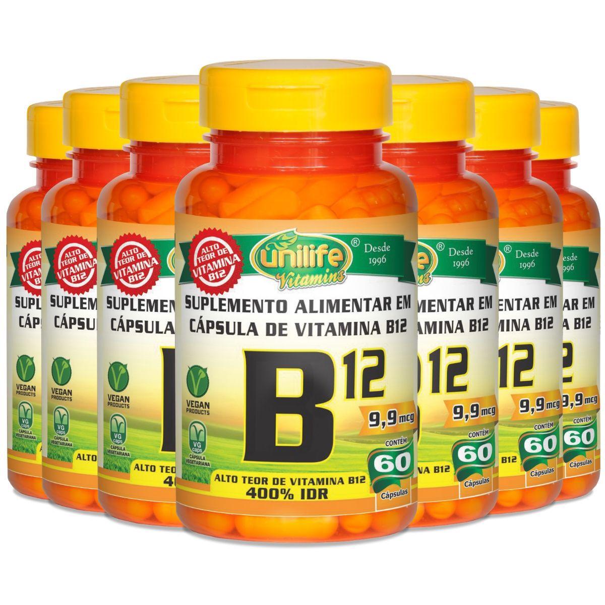 Kit 7 Vitamina B12 Cianocobalamina Unilife - 60 Cápsulas 450mg