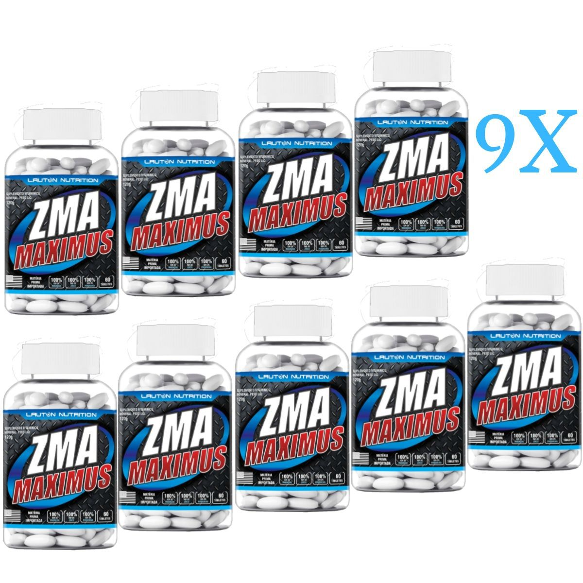 Kit 9 ZMA Maximus Lauton Nutrition - 60 Tablets 1G