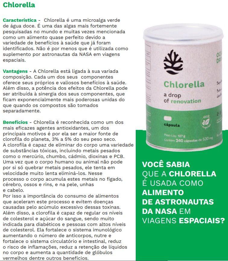 Kit Chlorella E Spirulina Ocean Drop 100% Vegetal 240 Cápsulas Cada