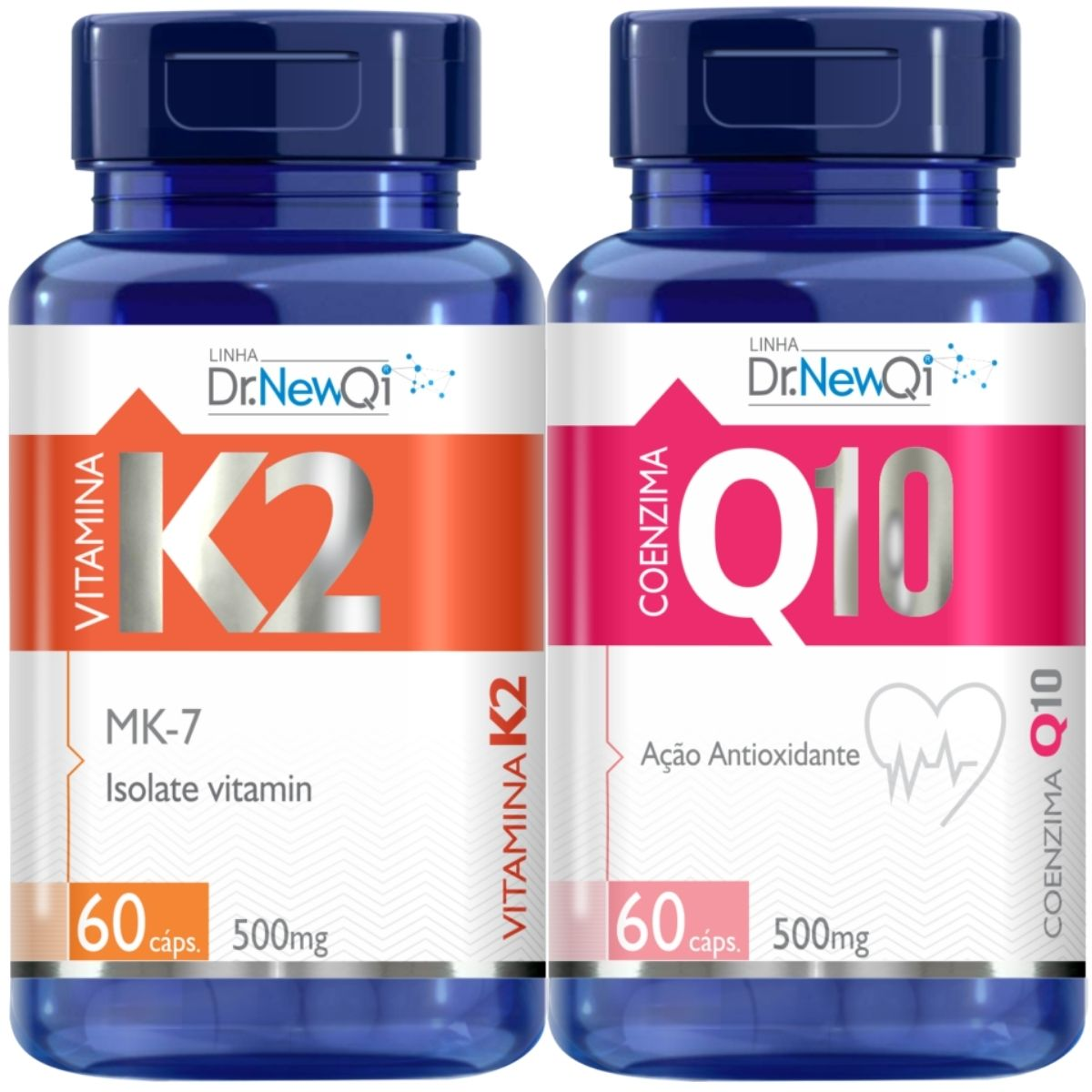Kit Coenzima Q10 Ubiquinona 60 Cáps + Vitamina K2 Menaquinona 60 Caps - Dr Lair