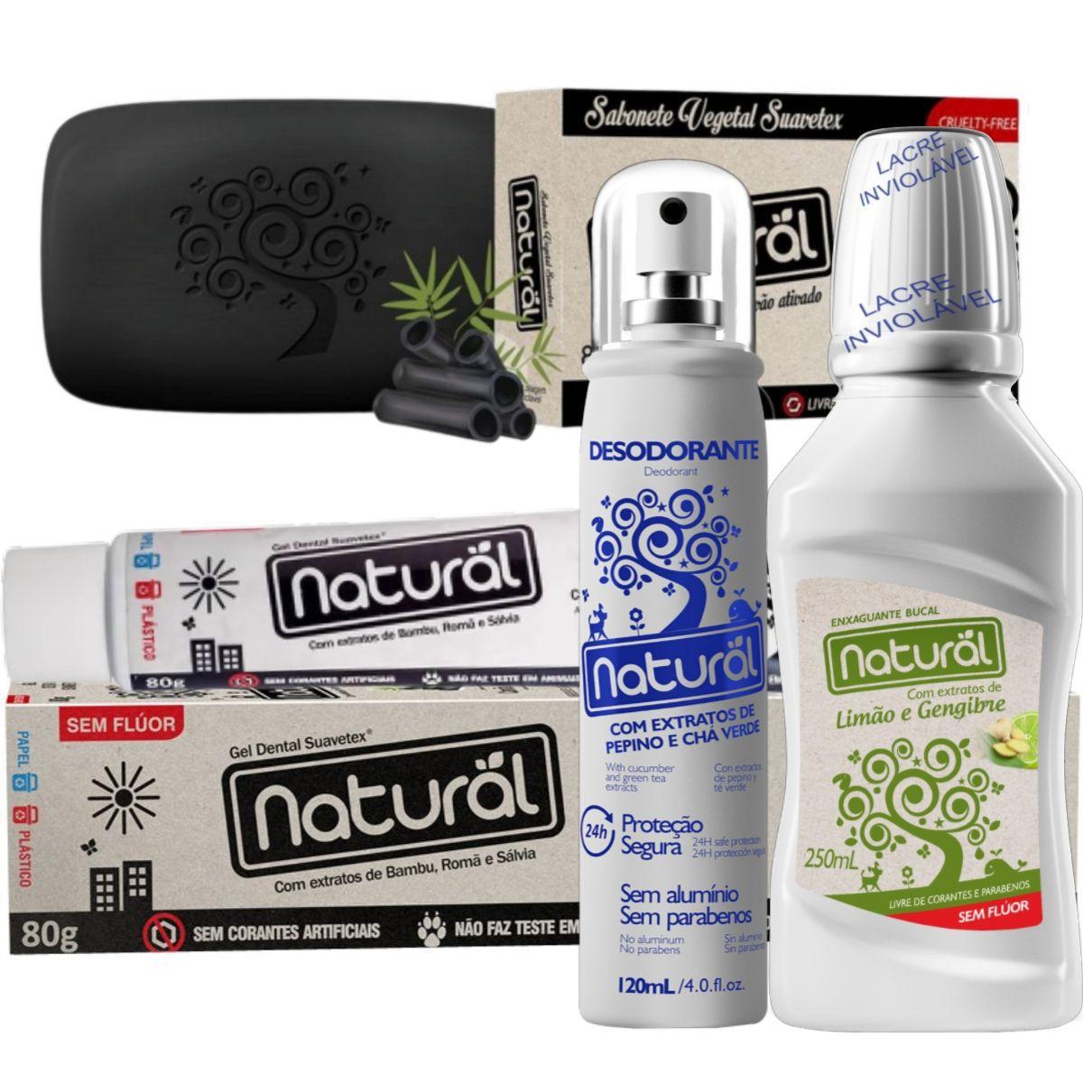 Kit Creme Dental Carvão Ativado 80g + Desodorante Spray 120ml + Enxaguante Bucal 250ml + Sabonete Carvão Ativado 80gr - Orgânico Natural