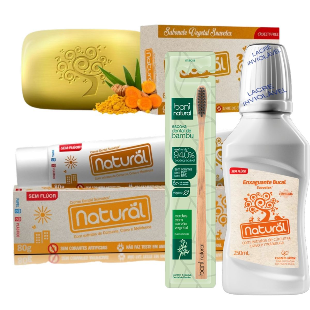 Kit Creme Dental Cúrcuma 80g + Escova Dental Carvão Vegetal + Enxaguante Bucal Cúrcuma 250ml + Sabonete de Cúrcuma 80gr - Orgânico Natural Boni